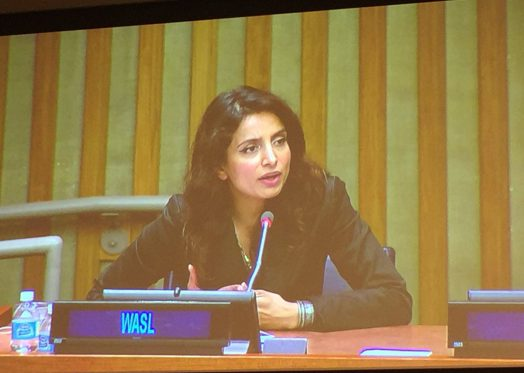 Deeyah Khan speaks at the United Nations General Assembly in September 2016