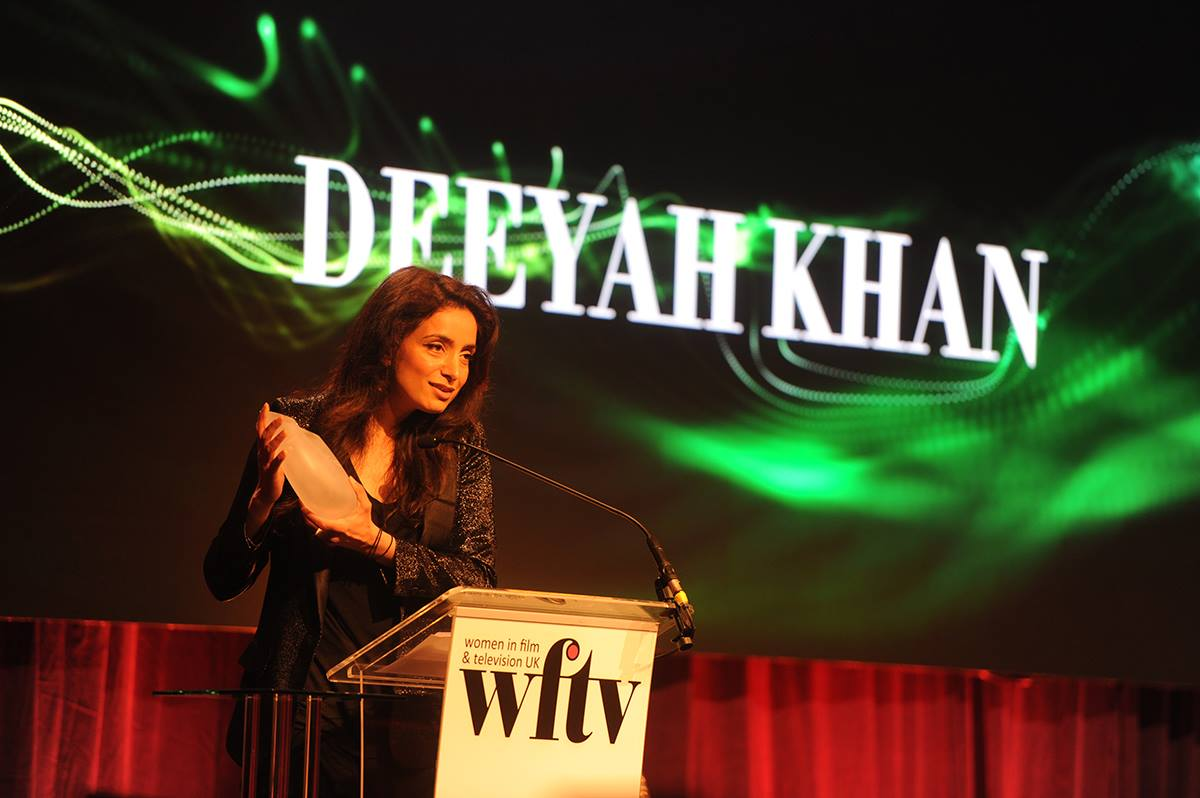 Deeyah Khan accepts the WFTV award in 2018