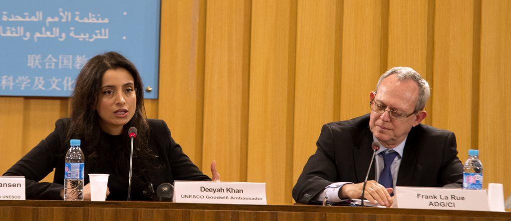 UNESCO Goodwill Ambassador, Deeyah Khan and Frank La Rue, Assistant Director-General for Communication and Information